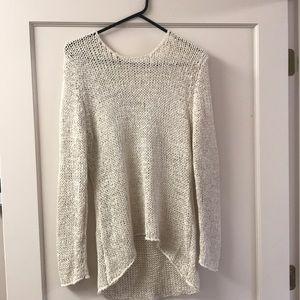 Sans Souci High Low Cream open knit sweater, Large